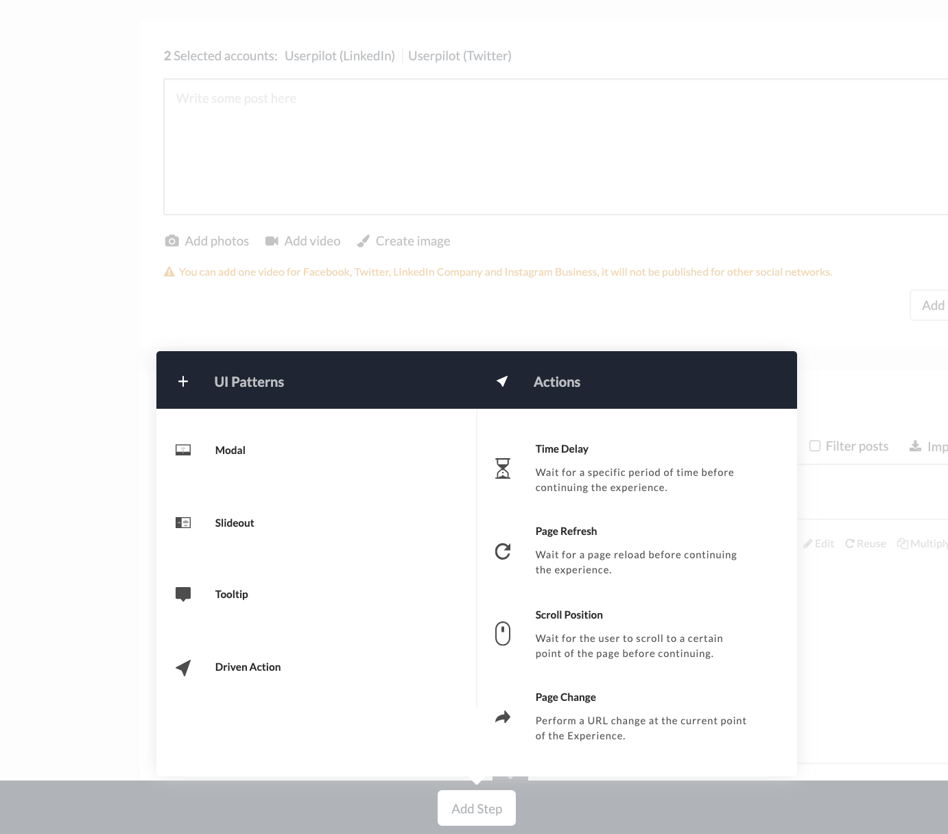 Userpilot UI patterns and actions