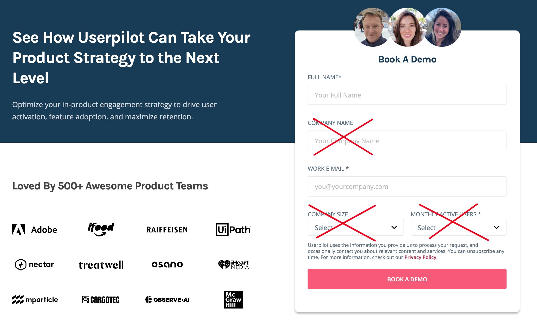 userpilot signup flow demo booking form